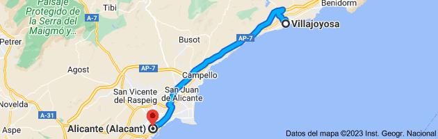 Mapa de Villajoyosa, 03570, Alicante a Alicante (Alacant), Alicante