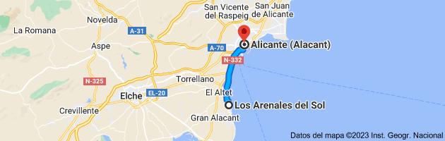 Mapa de Los Arenales del Sol, 03195, Alicante a Alicante (Alacant), Alicante