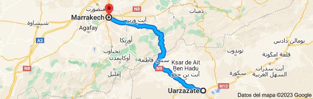Mapa de Uarzazate, 45000, Marruecos a Marrakech, Marruecos