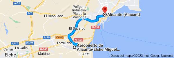 Mapa de Aeropuerto de Alicante-Elche (ALC), 03195 L'Altet, Alicante a Alicante (Alacant), Alicante