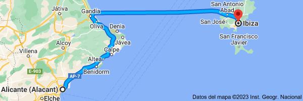 Mapa de Alicante (Alacant), Alicante a Ibiza, 07800, Islas Baleares