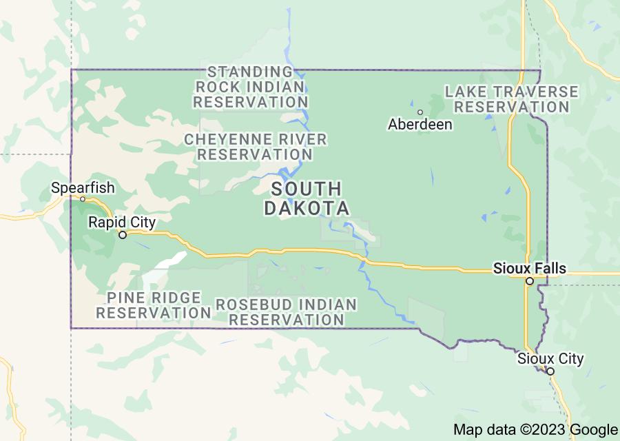 Location of South Dakota