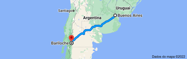 Mapa de Buenos Aires, Cidade Autônoma de Buenos Aires, Argentina para Bariloche, Río Negro, Argentina