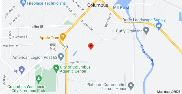 Map of 548 Waterloo St, Columbus, WI 53925
