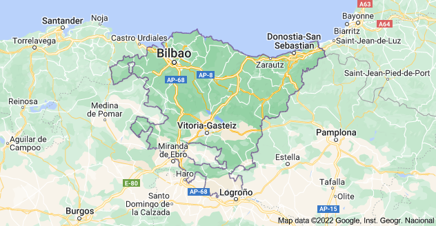 Map of Basque Country, Spain