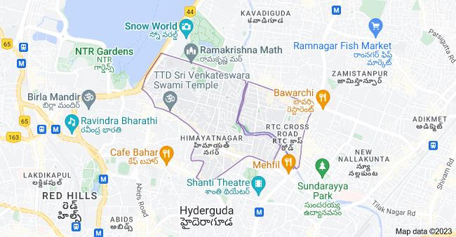 Map of Himayatnagar, Hyderabad, Telangana, India
