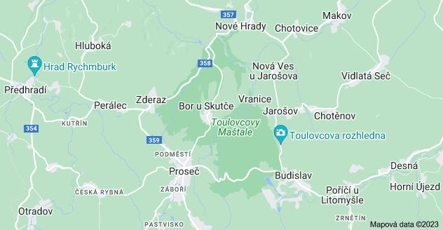 Mapa oblasti Pardubický kraj