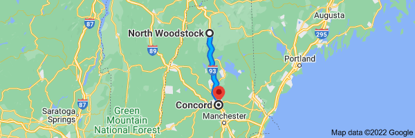 Map from North Woodstock,           Woodstock, NH to Concord, New Hampshire