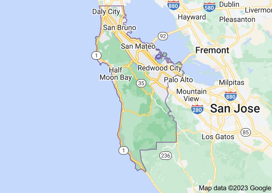 Location of San Mateo County