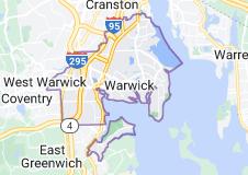 Map of Warwick, Rhode Island