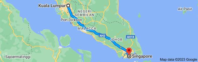 Map from Kuala Lumpur, Federal Territory of Kuala Lumpur to Singapore