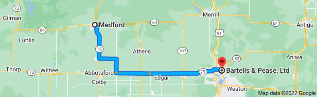 Map from Medford, Wisconsin 54451 to Bartells & Pease, Ltd, 613 Forest St, Wausau, WI 54403