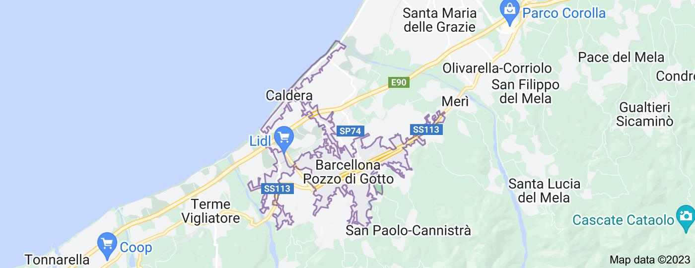 Location of Barcellona Pozzo di Gotto