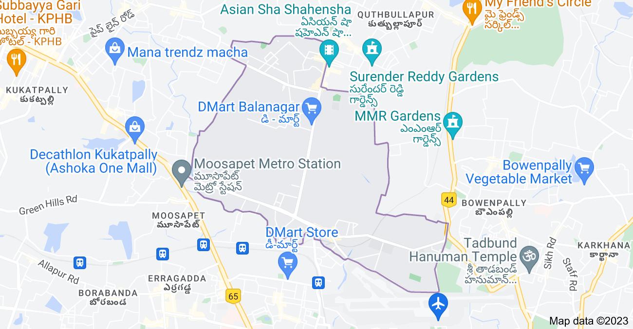 Map of Balanagar, Hyderabad, Telangana, India