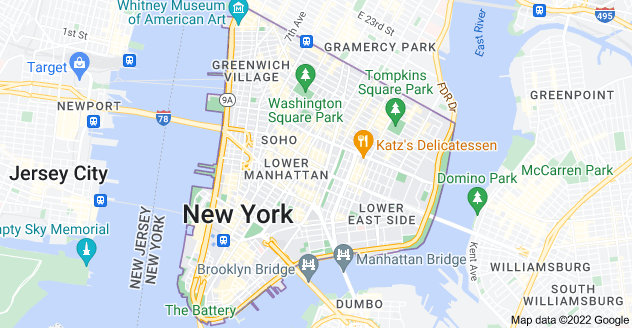 Map of Lower Manhattan, New York, NY