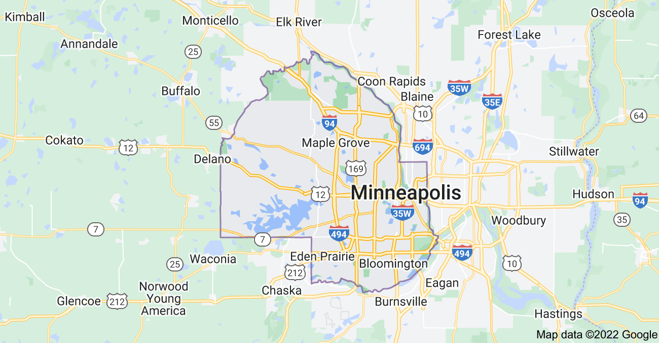 Map of Hennepin County, MN