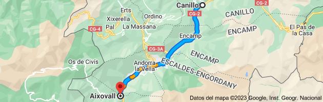 Mapa de Canillo, AD100, Andorra a Aixovall, Andorra