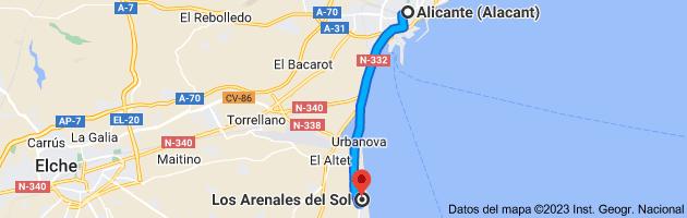 Mapa de Alicante (Alacant), Alicante a Los Arenales del Sol, 03195, Alicante