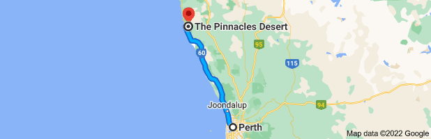 Map from Perth, Western Australia to The Pinnacles Desert, Pinnacles Dr, Cervantes WA 6511