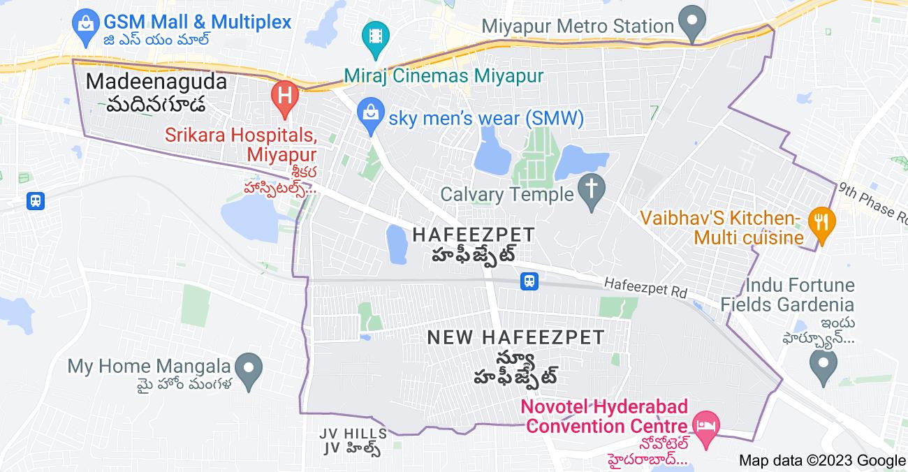 Map of Hafeezpet, Hyderabad, Telangana, India