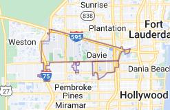 Map of Davie, Florida