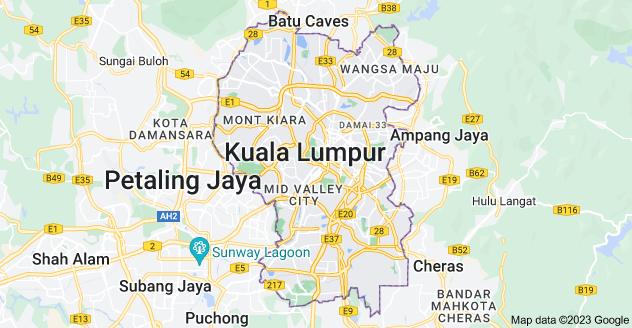 Map of Kuala Lumpur, Federal Territory of Kuala Lumpur, Malaysia