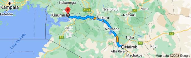 Map from Nairobi to Kisumu