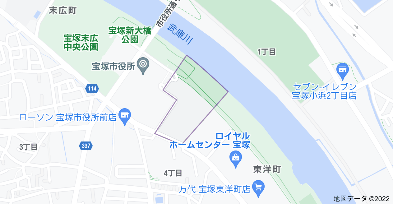 〒665-0032 兵庫県宝塚市東洋町2の地図
