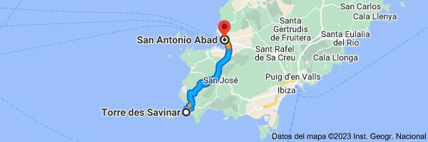 Mapa de Torre de Savinar (Torre Pirata), 07839 Sant Josep de sa Talaia, Illes Balears a San Antonio Abad, 07820, Islas Baleares
