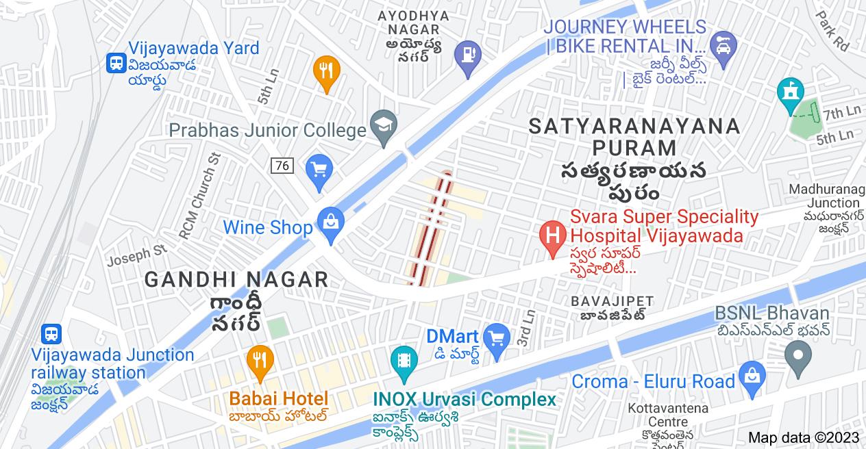 Map of G.S.Raju Rd, Satyaranayana Puram, Vijayawada, Andhra Pradesh
