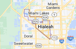 Map of Hialeah, Florida