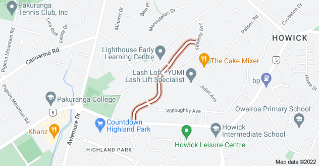 Location of Angelo Avenue