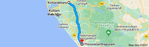 Map from Kottarakkara, Kerala, India to Thiruvananthapuram, Kerala, India