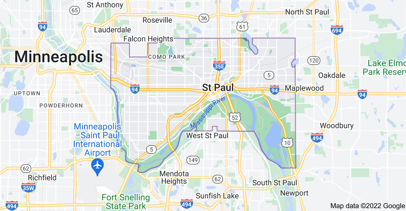 Map of St Paul, MN