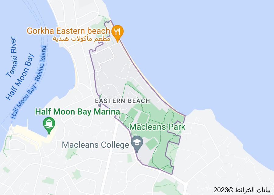 Location of Eastern Beach, New Zealand