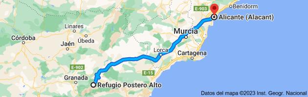 Mapa de Refugio Postero Alto, Parque Nacional de Sierra Nevada, 18518 Jerez del Marquesado, Granada a Alicante (Alacant), Alicante