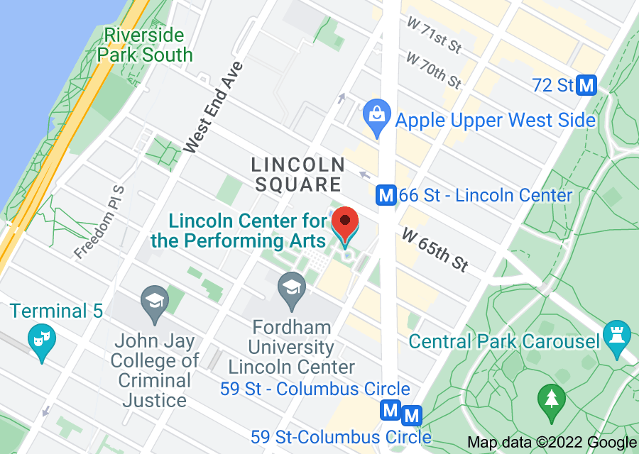 Location of Lincoln Center for the Performing Arts