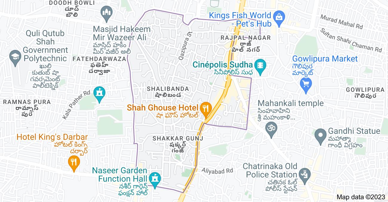 Map of Shalibanda, Hyderabad, Telangana, India
