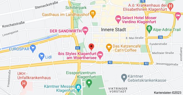 Karte von Josef-Mickl-Gasse 2, 9020 Innere Stadt