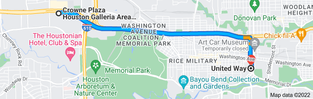 Map from Crowne Plaza Houston Galleria Area, 7611 Katy Fwy, Houston, TX 77024 to United Way, 50 Waugh Dr, Houston, TX 77007