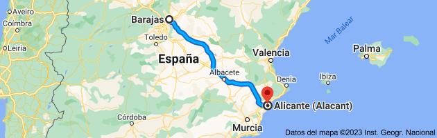 Mapa de Barajas, 28042 Madrid a Alicante (Alacant), Alicante