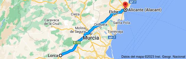 Mapa de Lorca, 30800, Murcia a Alicante (Alacant), Alicante