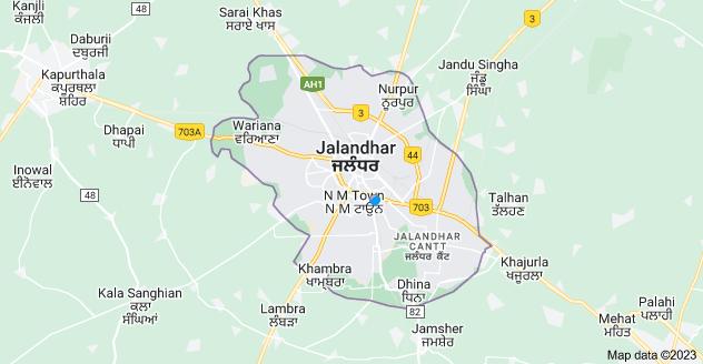 Map of Jalandhar, Punjab