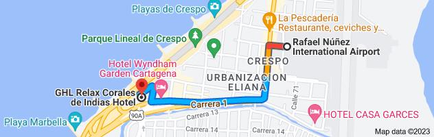 Map from Rafael Núñez International Airport, Aeropuerto Internacional Rafael Nuñez #CI. 71, Cartagena, Bolívar, Colombia to Hotel Corales de Indias, Av. Santander Carrera 1 No 62- 198, Crespo, Cartagena., Cartagena, Bolívar, Colombia
