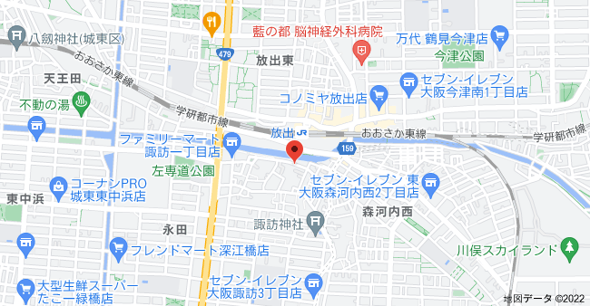 〒536-0021 大阪府大阪市城東区諏訪1丁目8−8の地図