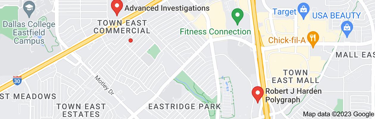 Map of private investigator mesquite tx