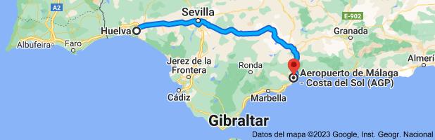 Mapa de Huelva a Aeropuerto de Málaga - Costa del Sol, Av. del Comandante García Morato, s/n, 29004, Málaga