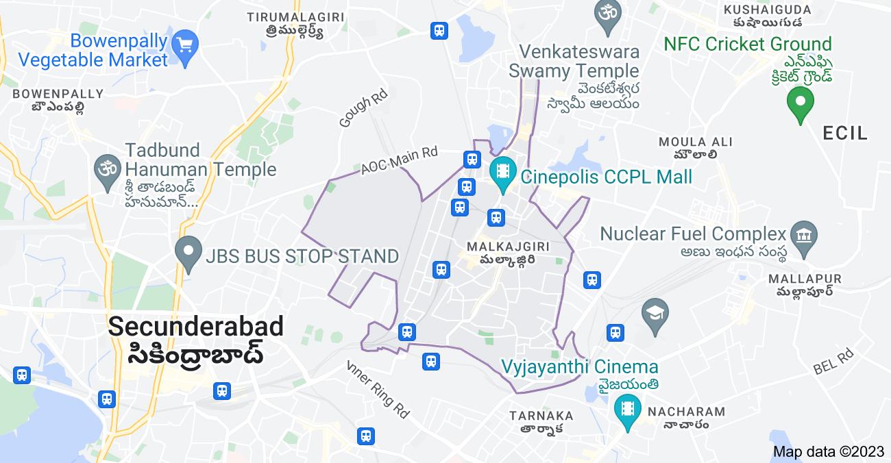 Map of Malkajgiri, Secunderabad, Telangana, India