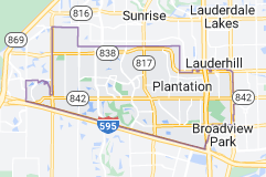 Map of Plantation, Florida