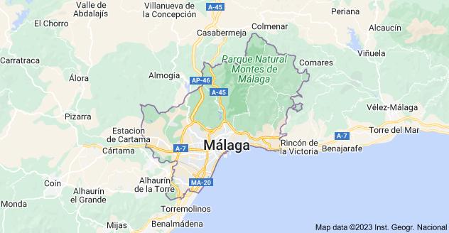 Map of Malaga, Spain